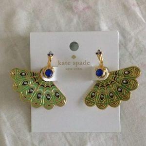 Kate Spade Peacock Ear Jackets Huggie Earrings